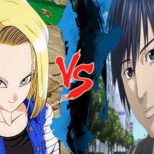 Androide 18 contra Hiro Shishigami (Dragon Ball Super e Inuyashiki)